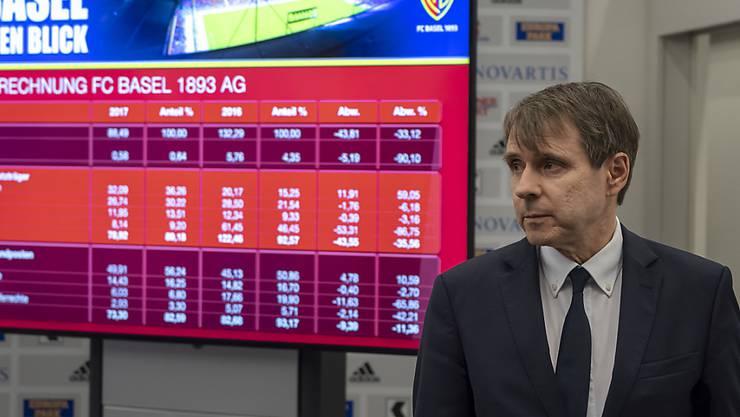 Präsident Bernhard Burgener präsentierte an der Bilanz-Medienkonferenz des FC Basel die Zahlen des letzten Jahres