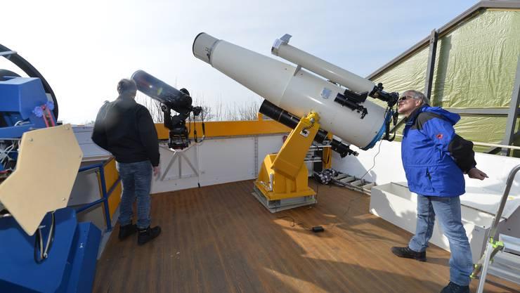 Sonnenbeobachtung im vergangenen März mit der jetzt abmontierten Schmidt-Kamera. (Archiv)