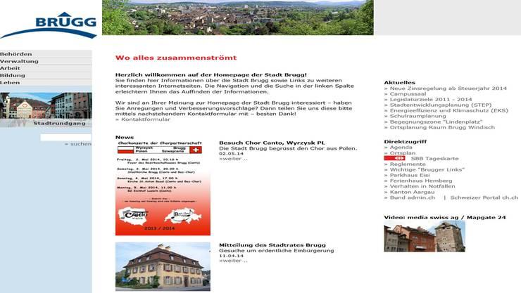 In der Kritik: Die Homepage der Stadt Brugg. zvg