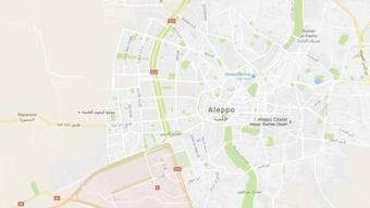 Das südwestliche Viertel Aleppos Hamdanije (rot) wird von Regierungstruppen gehalten - bei Rebellenangriffen starben elf Menschen. (Bild googlemaps)