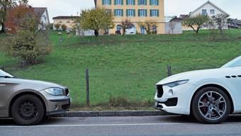 Anwohner-Jahreskarten zum Parkieren in der weissen Zone – wie hier am Kirchweg – sollen deutlich günstiger werden. Bild: Florian Schmitz
