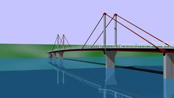 Schrägseilbrücke: Dieser Fussgängersteg könnte rund 800 Meter unterhalb des heutigen Eisenstegs die beiden Rheinufer verbinden. (zvg)