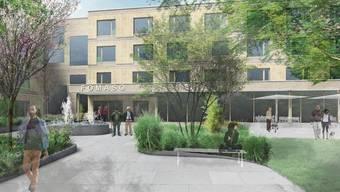 So stellen sich die siegreichen Architekten den Aussenbereich des geplanten Pflegezentrums in Bellach vor.
