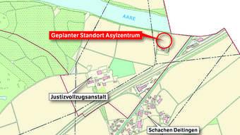 Der geplante Standort des Asylzentrums (im Kreis) in Deitingen/Flumenthal: Im Spickel zwischen Aare und Autobahn, nordöstlich der Justizvollzugsanstalt Schachen, neben der alten Abwasserreinigungsanlage