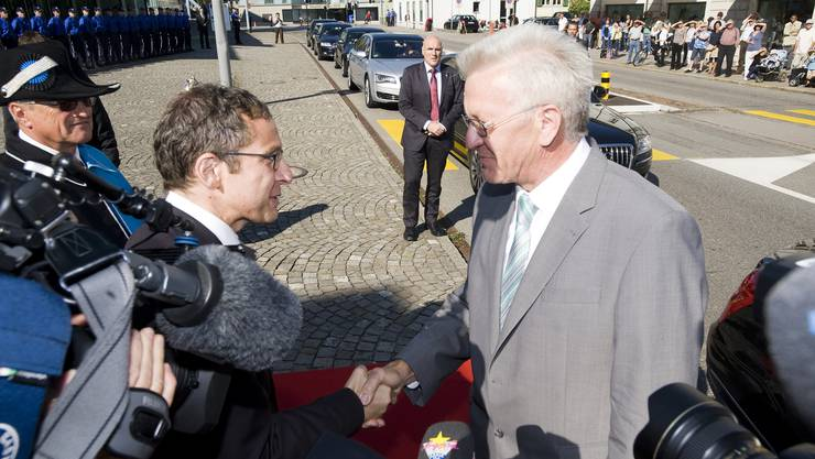Landamann Hofmann begrüsst den Ministerpräsidenten