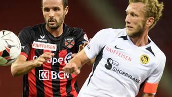 Der ehemalige Goalgetter Raphaël Nuzzolo (links, hier noch gegen YBs Fabian Lustenberger) und seine Xamaxiens bringen derzeit nichts zustande