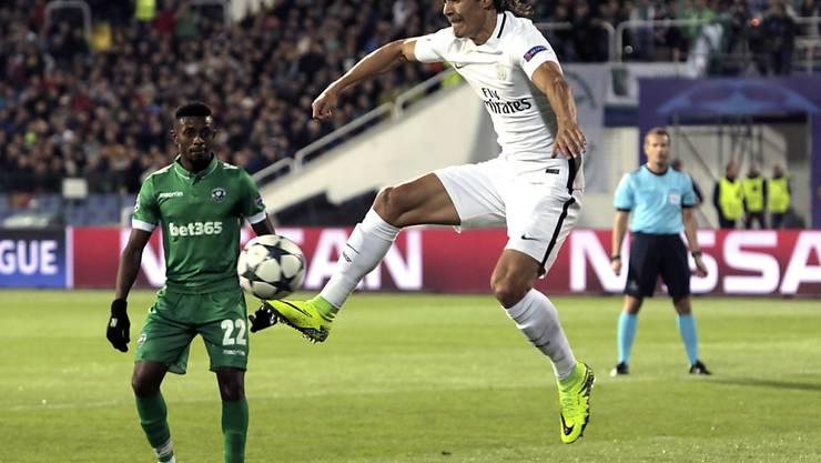 Edinson Cavani schoss Paris Saint-Germain mit seinen beiden Toren in der zweiten Halbzeit zum 3:1-Auswärtserfolg in Bulgarien