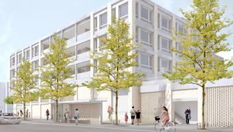 So sieht der Neubau ab 2020 aus, wenn man von Weiningen her kommend auf der Limmattalstrasse vorbeifährt. Davor das Bushäuschen der Haltestelle Zentrum.