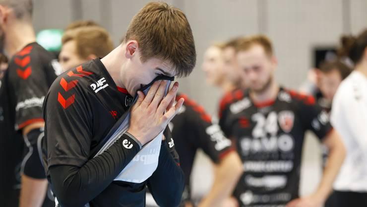 Enttäuschung über die Niederlage bei HSC-Rückraumspieler Manuel Zehnder, der nur bei drei seiner neun Würfe in Tore umzumünzen vermochte.