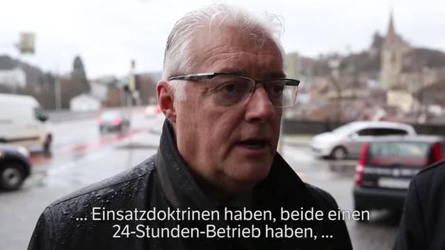 Geri Müller, Stadtammann von Baden und Roland Kuster, Gemeindeammann von Wettingen über die geplante Polizei-Zusammenarbeit