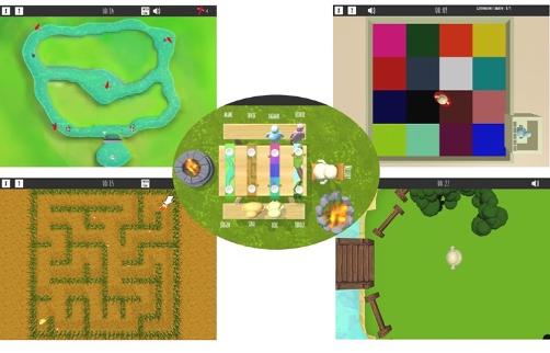 Szenen aus dem Myosotis-Computerspiel.