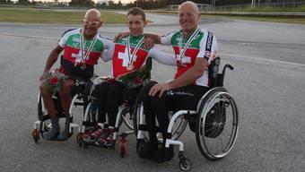 Heinz Frei, Tobias Fankhauser und Jean-Marc Berset (von links) holen die erste Medaille für die Schweiz.