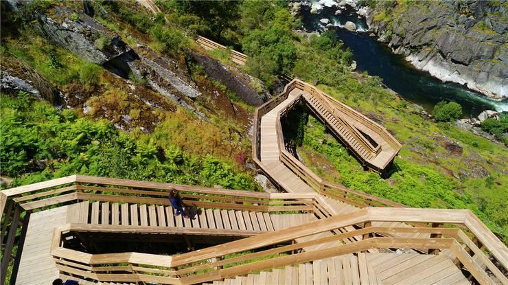 Den Hügel hinauf sind es über 500 hölzerne Stufen, und auf der anderen Seite hinunter noch mehr: Der spektakuläre Holzsteg, der sich durch das Tal des Flusses Paiva schlängelt, lockt sogar die sonst wenig sportlichen Portugiesen an.