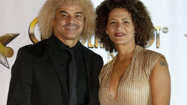 Ex-Fussballer Carlos Valderrama mit seiner Frau Elvira (Archiv)