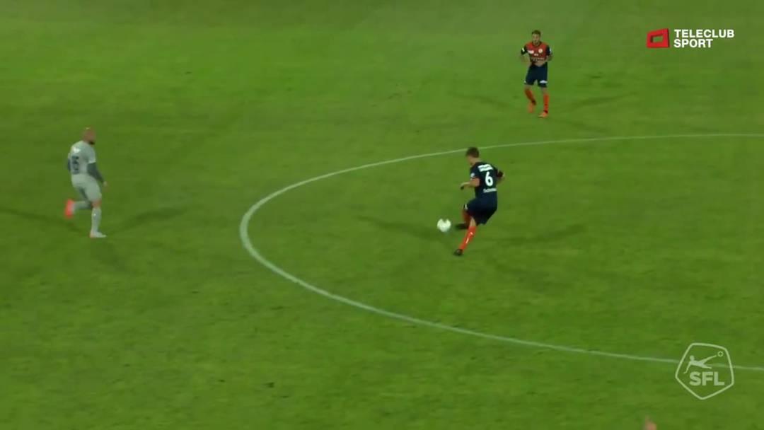 Challenge League 2019/2020, FC Aarau - FC Wil (31.08.2019), Schuss von Philipp Muntwiler (Wil)