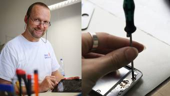 Thomas Stucki repariert Tablets wie das iPad oder Handys.