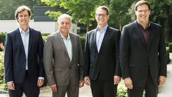 "Die Gründer von ""Swiss Skies"" (von links): Harald Vogels, Philippe Blaise, Armin Bovensiepen and Alvaro Oliveira beim Presse-Event am 14. September 2018 in Basel. (KEYSTONE/Alexandra Wey)"