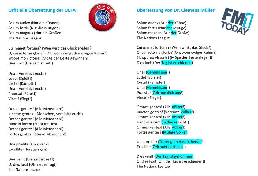 Uefa Hymne Text