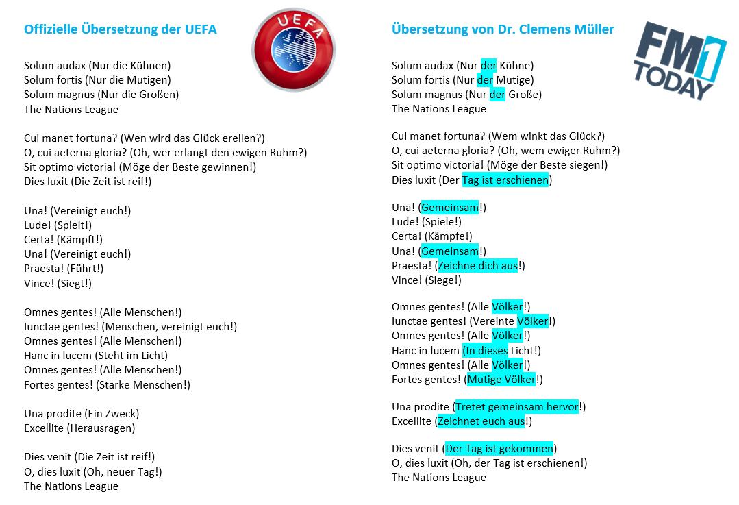 Die Übersetzungen im Vergleich. Grosse Unterschiede wurden blau markiert. (UEFA/Clemens Müller)