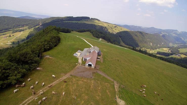 Der Matzendörfer Stierenberg mit dem Bergrestaurant in Richtung Scheltenpass und die geplanten Standorte des Windparkprojektes.