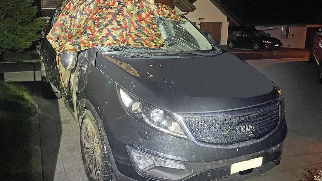 Mann versteckt Auto nach Unfall unter Militärblachen