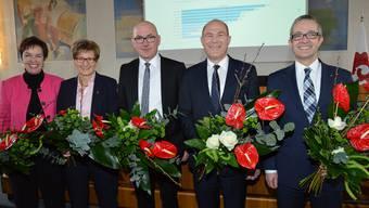 Monica Gschwind und Sabine Pegoraro (beide FDP), Isaac Reber (Grüne), Anton Lauber (CVP), Thomas Weber (SVP)