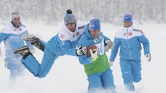 Das österreichische Speedteam nutzte die Zeit für ein Plauschgame