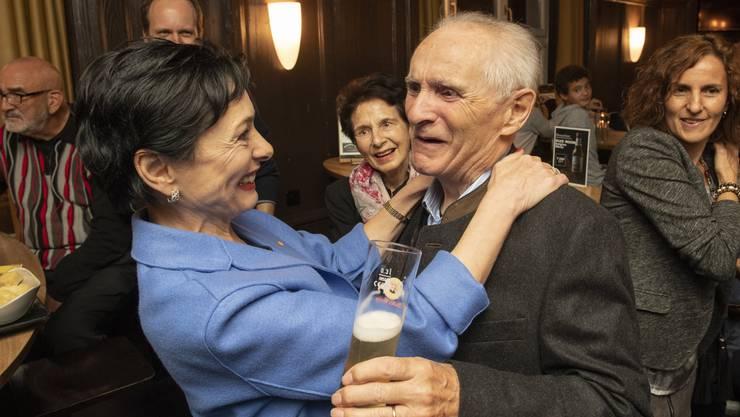 Marianne Binder (mit Vater Anton Keller, Alt Nationalrat, und Mutter Rosemarie Keller) wird in den Nationalrat gewählt, Restaurant Lemon, Baden, 20. Oktober 2019.