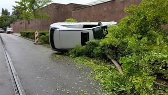 Das Auto riss zwei Bäume um und blieb auf der Seite liegen.