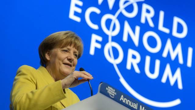 Die deutsche Kanzlerin Angela Merkel am WEF in Davos