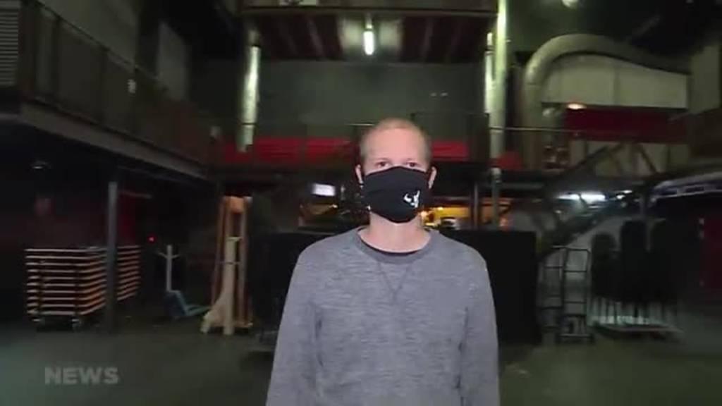Maskenpflicht im und rundum der Kulturfabrik Kofmehl in Solothurn