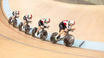 Die Schweizer im Qualifikationsrennen in der Mannschaftsverfolgung der Track Cycling Challenge.