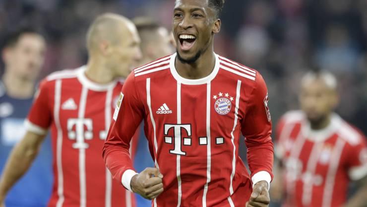 Kingsley Coman freut sich über sein 3:2 für Bayern München