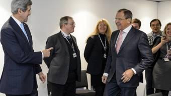 Kerry und Lawrow vor einem bilateralen Treffen in Basel