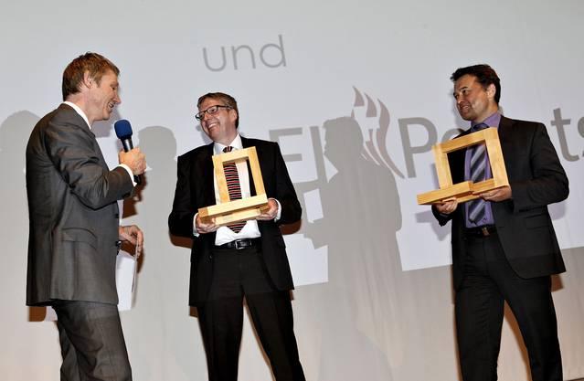 Die Gewinner des Unternehmenspreises: AEK Pellet AG (Bruno Jordi) und Müller Heizungen AG, Balsthal (Michael Oser)
