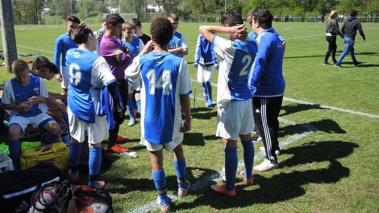 Enttäuscht: Die C-Junioren vom Aare/Rhy-Team nach der Cupfinal-Niederlage.