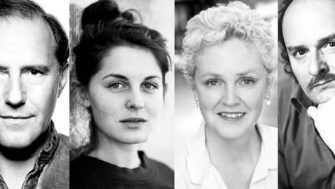 Stefan Kurt, Lorena Handschin, Manuela Biedermann und Roland Vouilloz (v.l.n.r) erhalten den Prix Swissperform – Schauspiel.