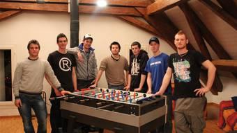 Kevin Kämpfer, Dario Arcangeli, Marc Guggiana, Michael Wyss, Tobias Wyss, Yannick Bürgi und Diego Stalder (v.l.)
