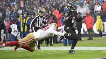 Läuft Lamar «Action» Jackson den 49ers auch im Super Bowl davon?