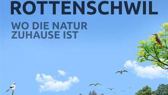 Mit diesem Plakat und dem Slogan «Wo die Natur zuhause ist» wirbt die Gemeinde Rottenschwil künftig an ihren Dorfeinfahrten für die Lebensqualität an der Reuss.