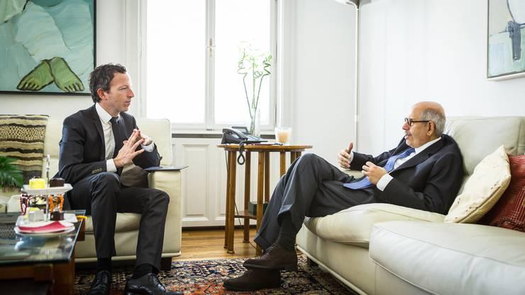 Mohammed ElBaradei im Gespräch mit Schweiz-am-Sonntag-Chefredaktor Patrik Müller