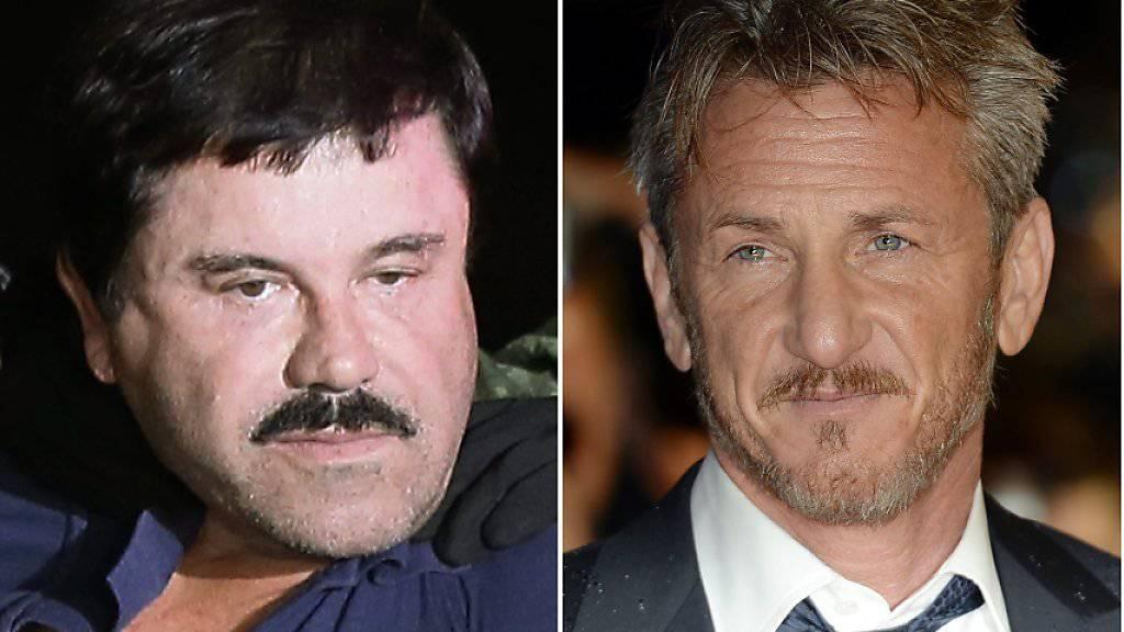 """Im Visier der Justizt: Drogenboss """"El Chapo"""", US-Filmstar Sean Penn und die mexikanische Schauspielerin Kate del Castillo."""
