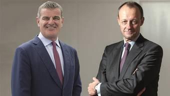 Peter Spuhler (l.) sagt über seinen Verwaltungsrat Friedrich Merz: «Er stellt in Sitzungen unangenehme Fragen.»