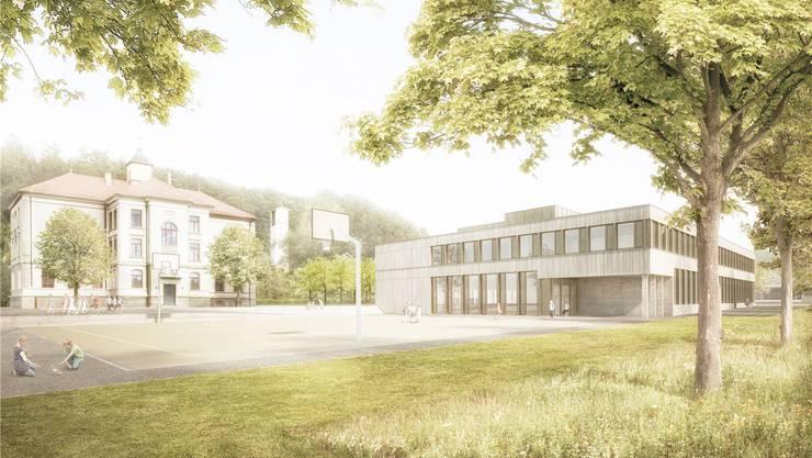 Visualisierung des Neubaus auf dem bestehenden Schulareal.