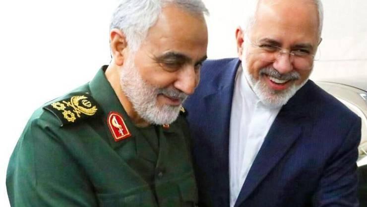 Der iranische Aussenminister Javad Zarif (rechts), hier auf einer Archivaufnahme mit dem letzte Woche getöteten General und Geheimdienst-Mastermind  Quassem Soleimani.