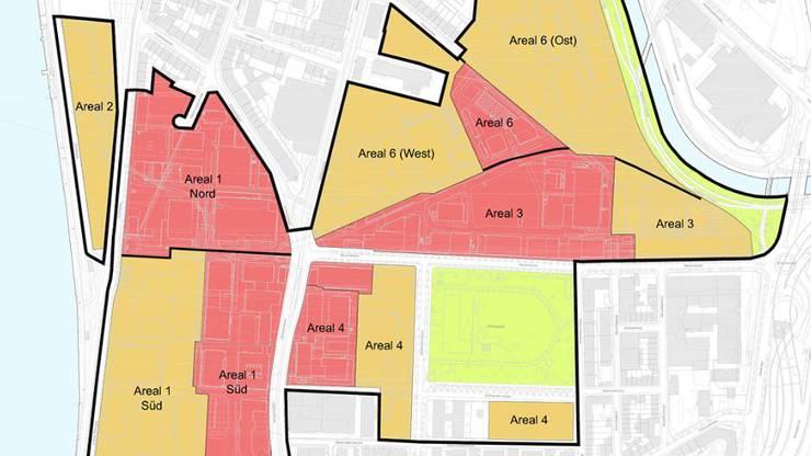 Die gelben Flächen mit Anschluss an Rhein und Wiese gehören Novartis und gehen nun an die private Investorengruppe über. Die roten Flächen gehören der BASF, die ihr Areal noch nicht verkauft hat. Bild: www.klybeckplus.ch
