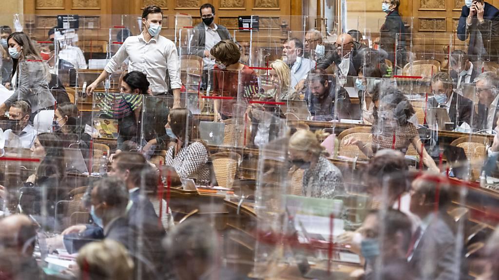 Schutzmassnahmen gegen das Coronavirus im Bundeshaus. (Archivbild)