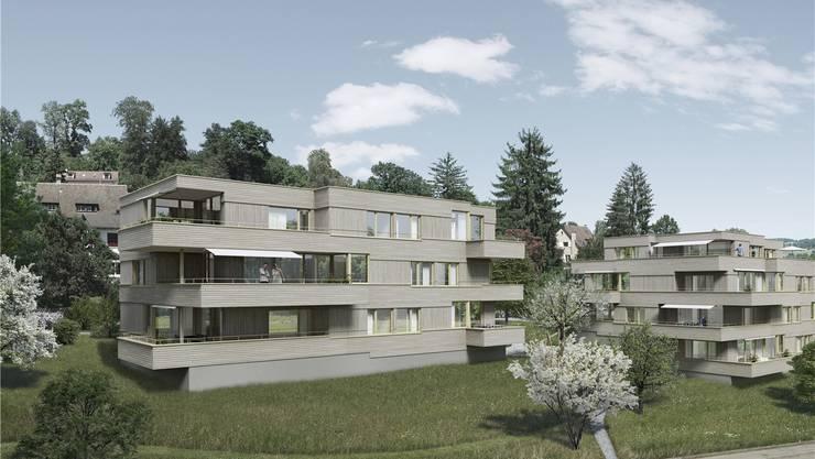 So wird sich die Wohnüberbauung Belvédère (BEM Architekten AG, Baden) auf der Allmend in Baden dereinst präsentieren. zvg