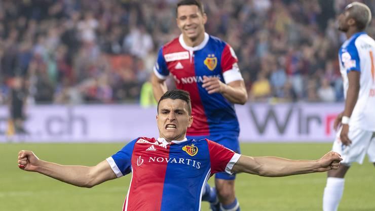 Basels Mohamed Elyounoussi jubelt über sein 1:0