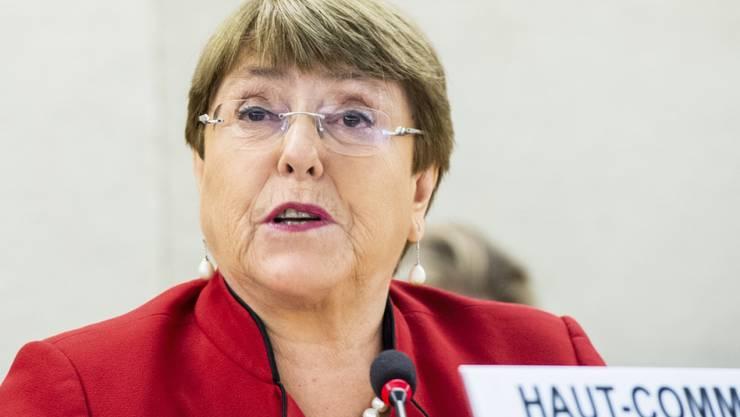 ARCHIV - Michelle Bachelet, Hochkommissarin der Vereinten Nationen für Menschenrechte, spricht während der 43. ordentlichen Sitzung des UN-Menschenrechtsrates. Foto: Violaine Martin/UN Geneva/dpa - ACHTUNG: Nur zur redaktionellen Verwendung und nur mit vollständiger Nennung des vorstehenden Credits